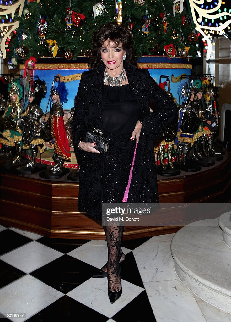 <a gi-track='captionPersonalityLinkClicked' href=/galleries/search?phrase=Joan+Collins&family=editorial&specificpeople=109065 ng-click='$event.stopPropagation()'>Joan Collins</a> attends Claridge's Christmas Tree By Dolce & Gabbana launch party at Claridge's Hotel on November 26, 2013 in London, England.