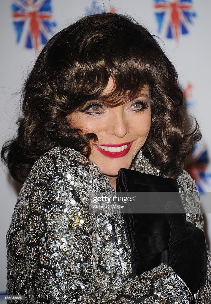 Joan Collins attends the after party for the press night of 'Viva Forever', a musical based on the music of The Spice Girls at Victoria Embankment Gardens on December 11, 2012 in London, England.