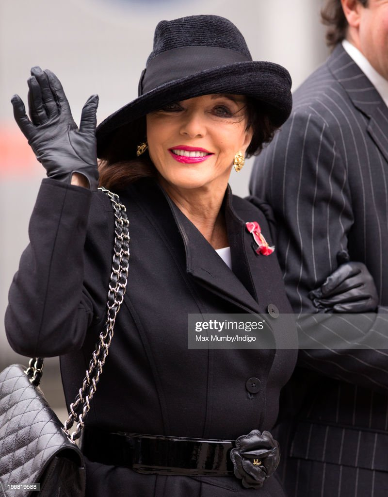 Joan Collins attends the funeral of former British Prime Minister Baroness Margaret Thatcher at St Paul's Cathedral on April 17, 2013 in London, England. Dignitaries from around the world today join Queen Elizabeth II and Prince Philip, Duke of Edinburgh as the United Kingdom pays tribute to former Prime Minister Baroness Thatcher during a Ceremonial funeral with military honours at St Paul's Cathedral. Lady Thatcher, who died last week, was the first British female Prime Minister and served from 1979 to 1990.