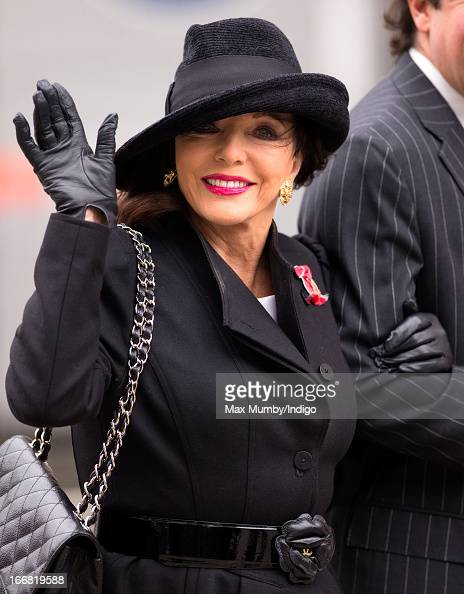 Joan Collins attends the funeral of former British Prime Minister Baroness Margaret Thatcher at St Paul's Cathedral on April 17 2013 in London...