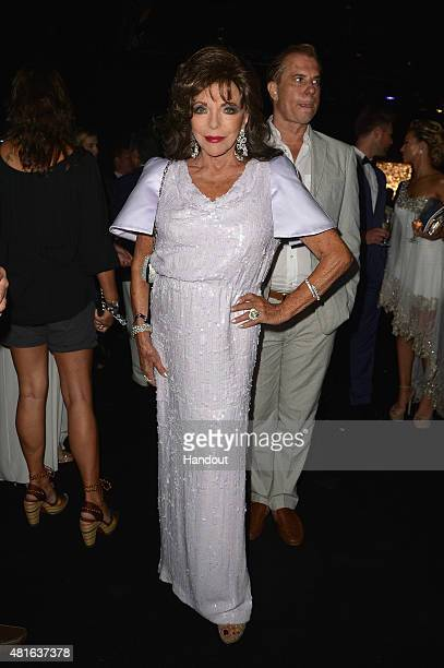 Joan Collins attends The Leonardo DiCaprio Foundation 2nd Annual SaintTropez Gala at Domaine Bertaud Belieu on July 22 2015 in SaintTropez France