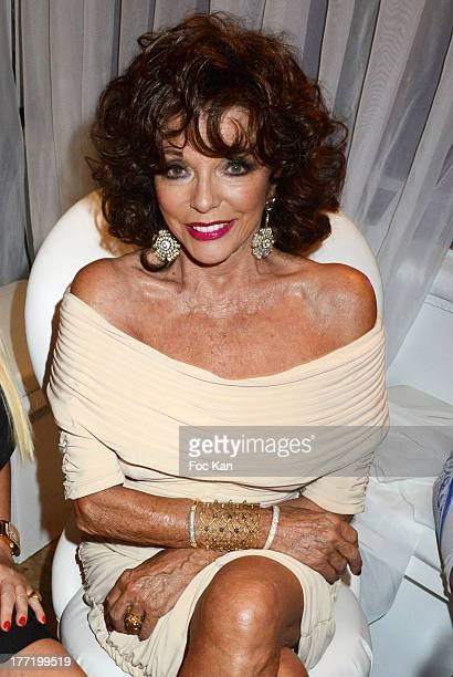 Joan Collins attends the Massimo Gargia's Birthday Dinner at Moulins de Ramatuelle on August 21 2013 in Saint Tropez France