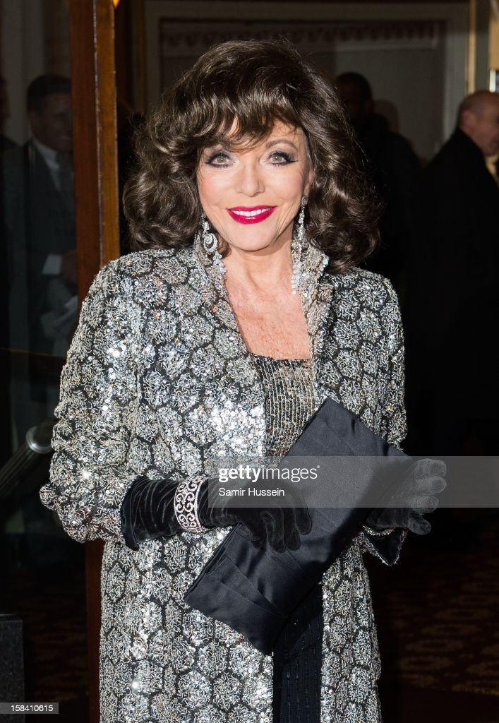 Joan Collins attends the press night of 'Viva Forever', a musical based on the music of The Spice Girls at Piccadilly Theatre on December 11, 2012 in London, England.