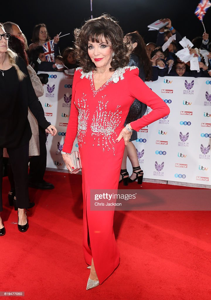 Joan Collins attends the Pride Of Britain awards at the Grosvenor House Hotel on October 31, 2016 in London, England.