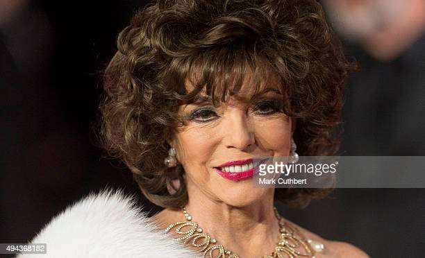 Joan Collins attends the Royal Film Performance of 'Spectre' at Royal Albert Hall on October 26 2015 in London England