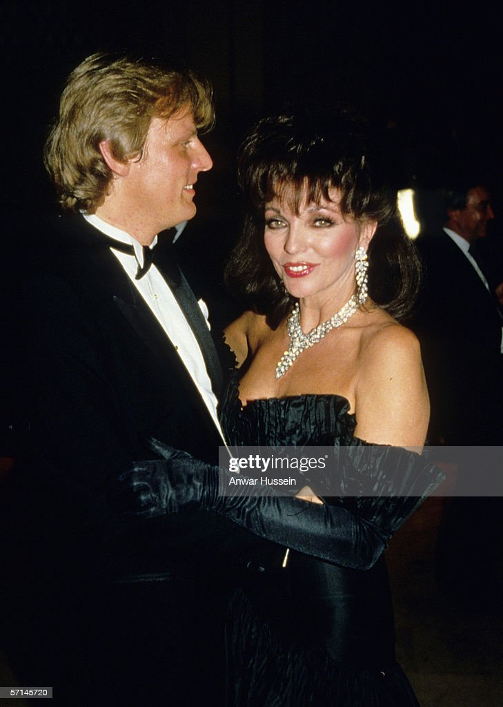 Joan Collins dances with new husband Peter Holm at a banquet in November 1985 in Palm Springs, USA.