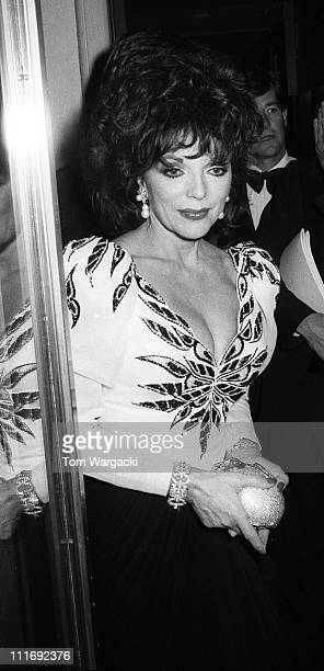 Joan Collins during 1987 American Eagle Ball at Grovsvenor House Hotel in London Great Britain