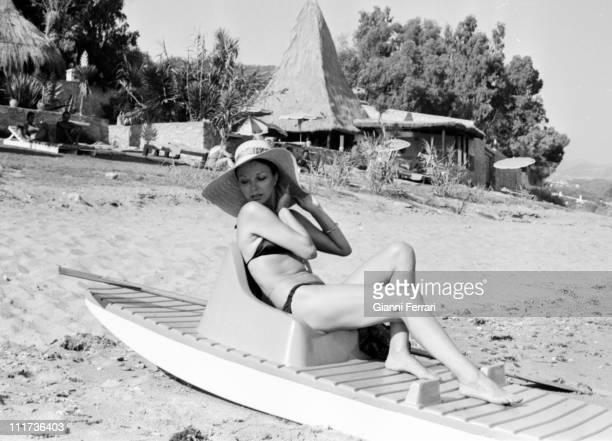 Joan Collins in the beach of the 'Marbella Club' Marbella Spain