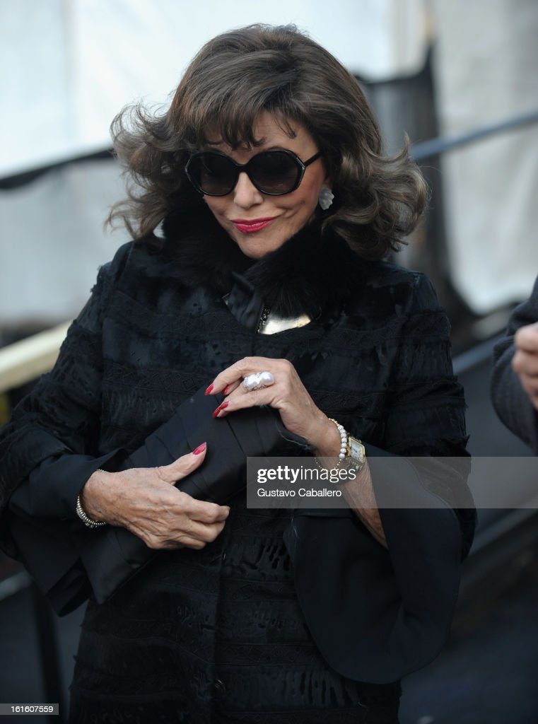 Joan Collins is seen around Lincoln Center on day 6 of Fall 2013 Mercedes-Benz Fashion Week at Lincoln Center for the Performing Arts on February 12, 2013 in New York City.
