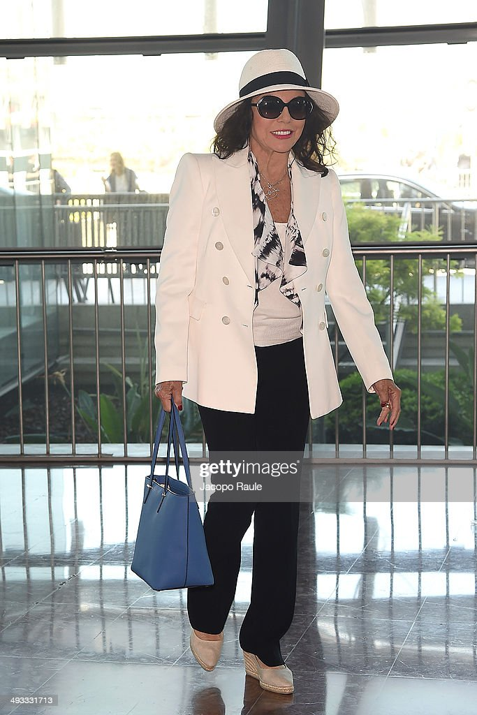 Joan Collins is seen arriving in Nice for the 67th Annual Cannes Film Festival on May 23, 2014 in Nice, France.