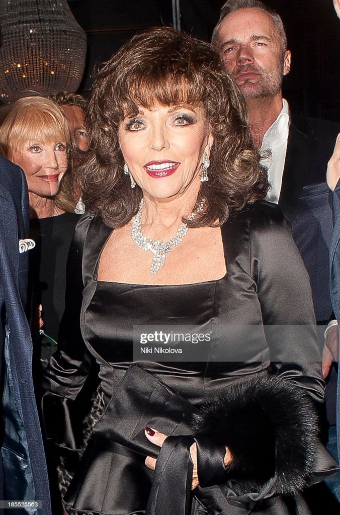 Joan Collins is sighted leaving the Westbury Hotel, Mayfair on October 21, 2013 in London, England.