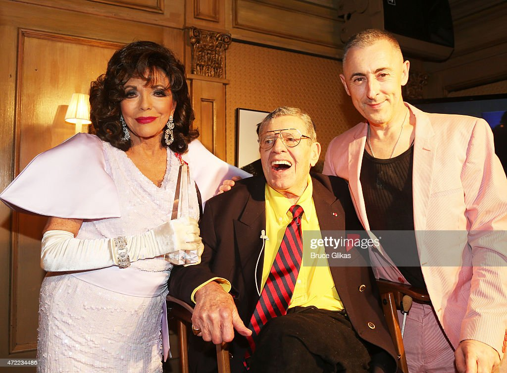 Joan Collins, Jerry Lewis and Alan Cumming at the Friars Club salute to Joan Collins pose at The Friars Club on May 4, 2015 in New York City.