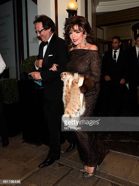 Joan Collins leaves The Dorchester Hotel following the Shooting Star Chase Ball on October 3 2015 in London England
