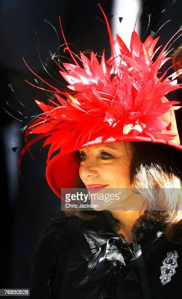Joan Collins leaves the Isabella Blow Tribute at Guards Chapel on September 18 2007 in London England The magazine editor and international style...