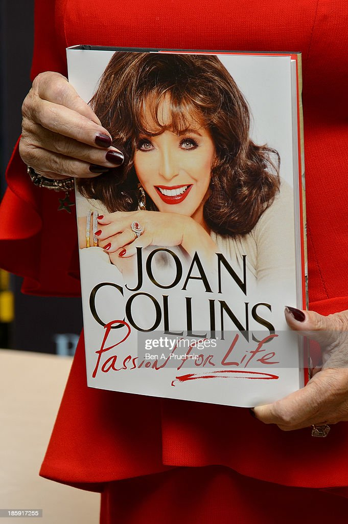 <a gi-track='captionPersonalityLinkClicked' href=/galleries/search?phrase=Joan+Collins&family=editorial&specificpeople=109065 ng-click='$event.stopPropagation()'>Joan Collins</a> meets fans and signs copies of her book 'Passion For Life' at Selfridges on October 26, 2013 in London, England.