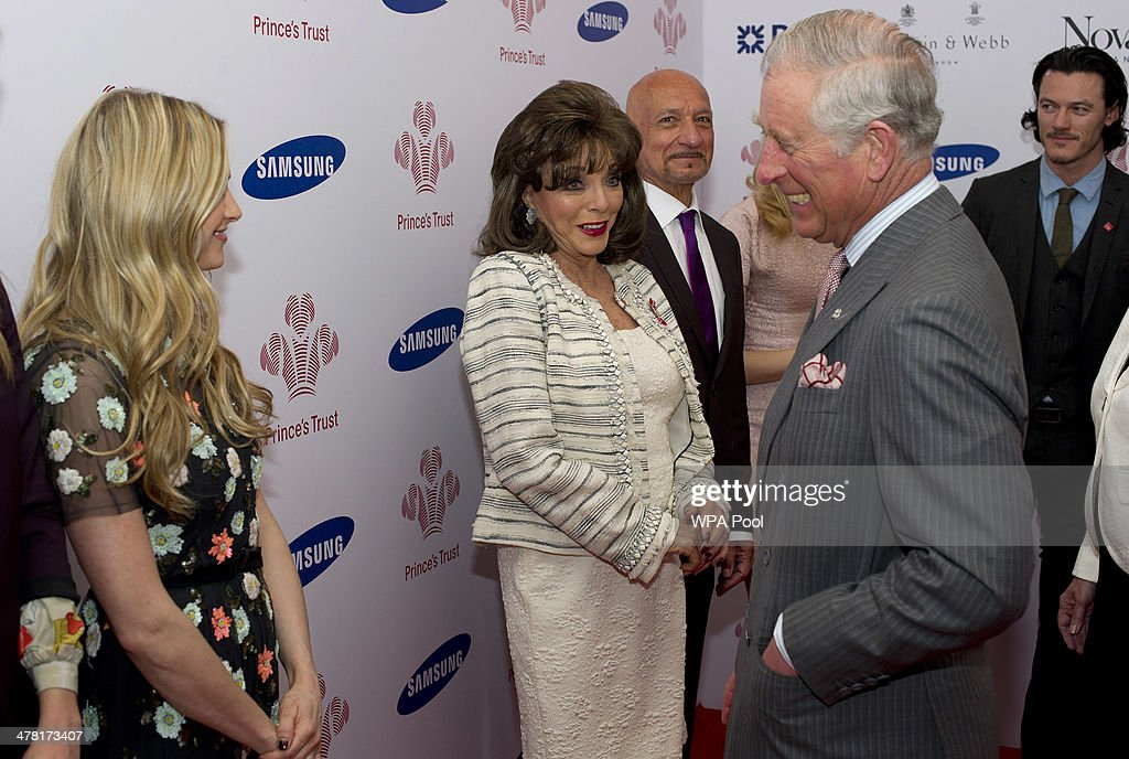 <a gi-track='captionPersonalityLinkClicked' href=/galleries/search?phrase=Joan+Collins&family=editorial&specificpeople=109065 ng-click='$event.stopPropagation()'>Joan Collins</a> meets <a gi-track='captionPersonalityLinkClicked' href=/galleries/search?phrase=Prince+Charles&family=editorial&specificpeople=160180 ng-click='$event.stopPropagation()'>Prince Charles</a>, Prince of Wales at the Prince's Trust & Samsung Celebrate Success awards at Odeon Leicester Square on March 12, 2014 in London, England.