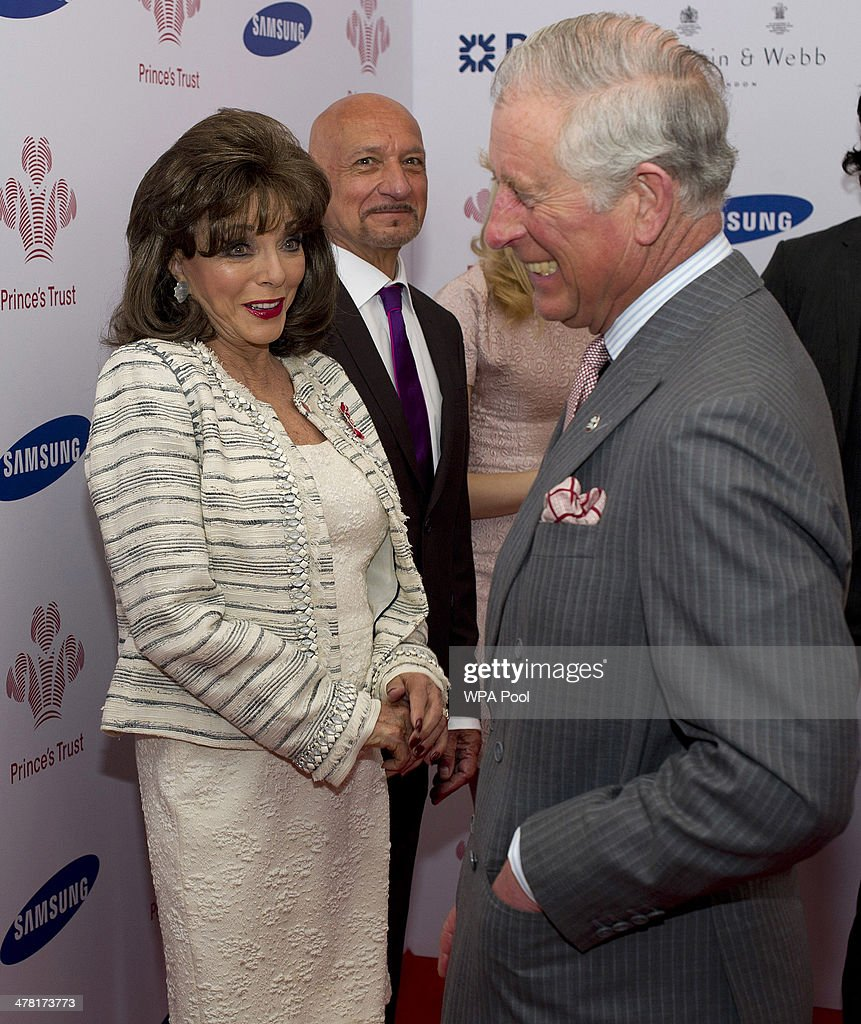 Joan Collins meets Prince Charles, Prince of Wales at the Prince's Trust & Samsung Celebrate Success awards at Odeon Leicester Square on March 12, 2014 in London, England.