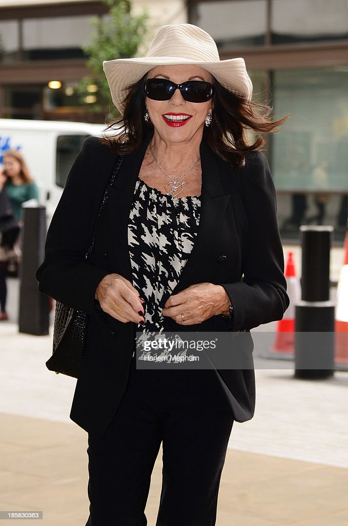 <a gi-track='captionPersonalityLinkClicked' href=/galleries/search?phrase=Joan+Collins&family=editorial&specificpeople=109065 ng-click='$event.stopPropagation()'>Joan Collins</a> sighted arriving at BBC Radio One on October 25, 2013 in London, England.