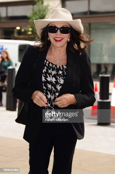 Joan Collins sighted arriving at BBC Radio One on October 25 2013 in London England