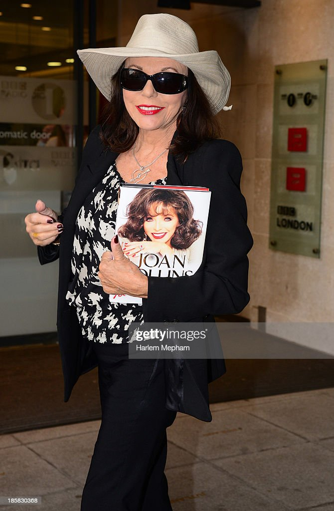 Joan Collins sighted arriving at BBC Radio One on October 25, 2013 in London, England.