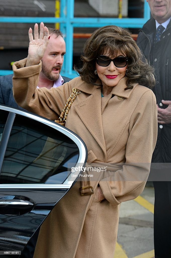 Joan Collins sighted at ITV Studios on February 3, 2014 in London, England.