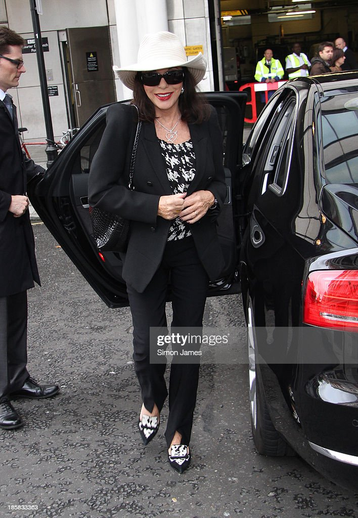 <a gi-track='captionPersonalityLinkClicked' href=/galleries/search?phrase=Joan+Collins&family=editorial&specificpeople=109065 ng-click='$event.stopPropagation()'>Joan Collins</a> sighting at the BBC on October 25, 2013 in London, England.