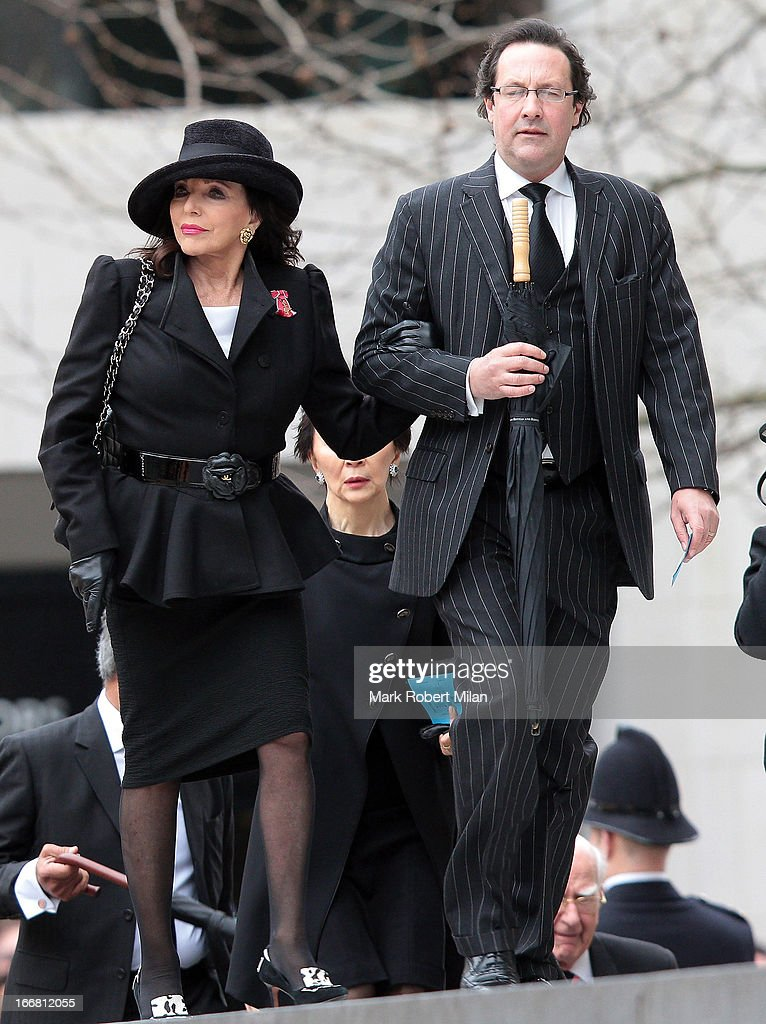 Joan Collins sighting during the funeral of former British prime minister Margaret Thatcher, on April 17, 2013 in London, England.