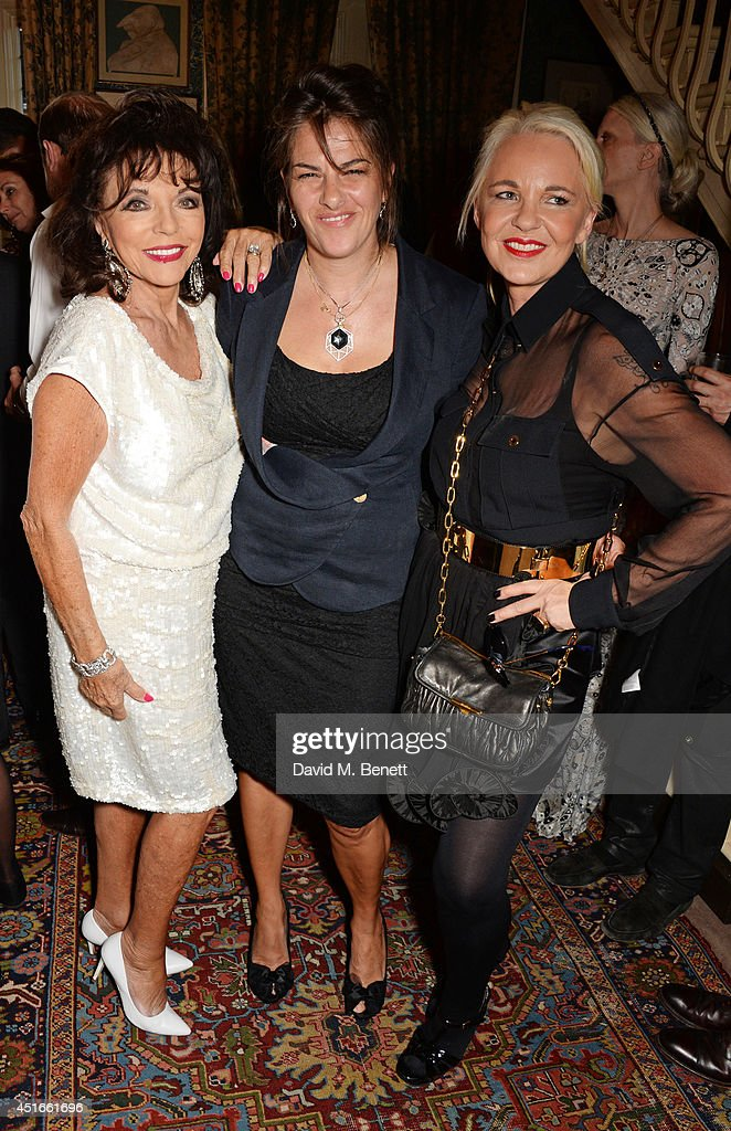 Joan Collins, Tracey Emin and Amanda Eliasch attend Tracey Emin's birthday party at Mark's Club on July 3, 2014 in London, England.