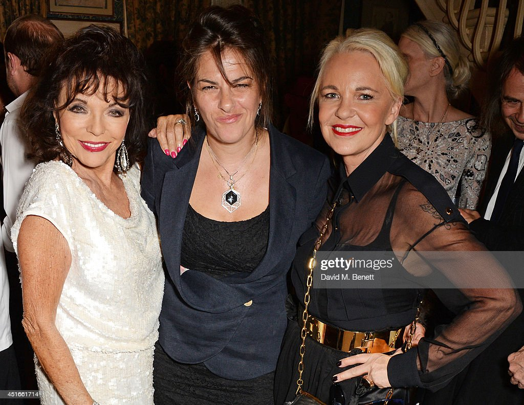 Joan Collins Tracey Emin and Amanda Eliasch attend Tracey Emin's birthday party at Mark's Club on July 3 2014 in London England