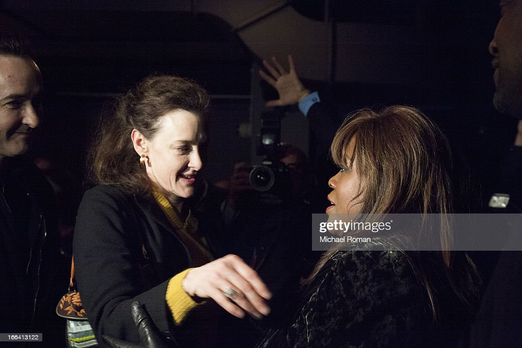 <a gi-track='captionPersonalityLinkClicked' href=/galleries/search?phrase=Joan+Cusack&family=editorial&specificpeople=223920 ng-click='$event.stopPropagation()'>Joan Cusack</a> and Chaz Ebert attend the Roger Ebert Memorial Tribute at Chicago Theatre on April 11, 2013 in Chicago, Illinois.