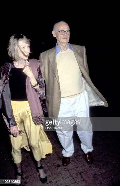 Joan Didion and husband John Gregory Dunne during 'Talk' Magazine Launch Party August 2 1999 at Liberty Island in New York City New York United States