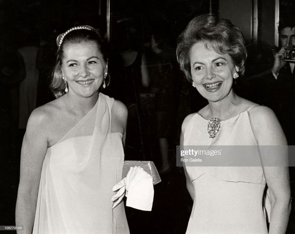 <a gi-track='captionPersonalityLinkClicked' href=/galleries/search?phrase=Joan+Fontaine&family=editorial&specificpeople=206434 ng-click='$event.stopPropagation()'>Joan Fontaine</a> and sister Olivia de Havilland during Marlene Dietrich's Opening Party - September 9, 1967 at Rainbow Room in New York City, NY, United States.