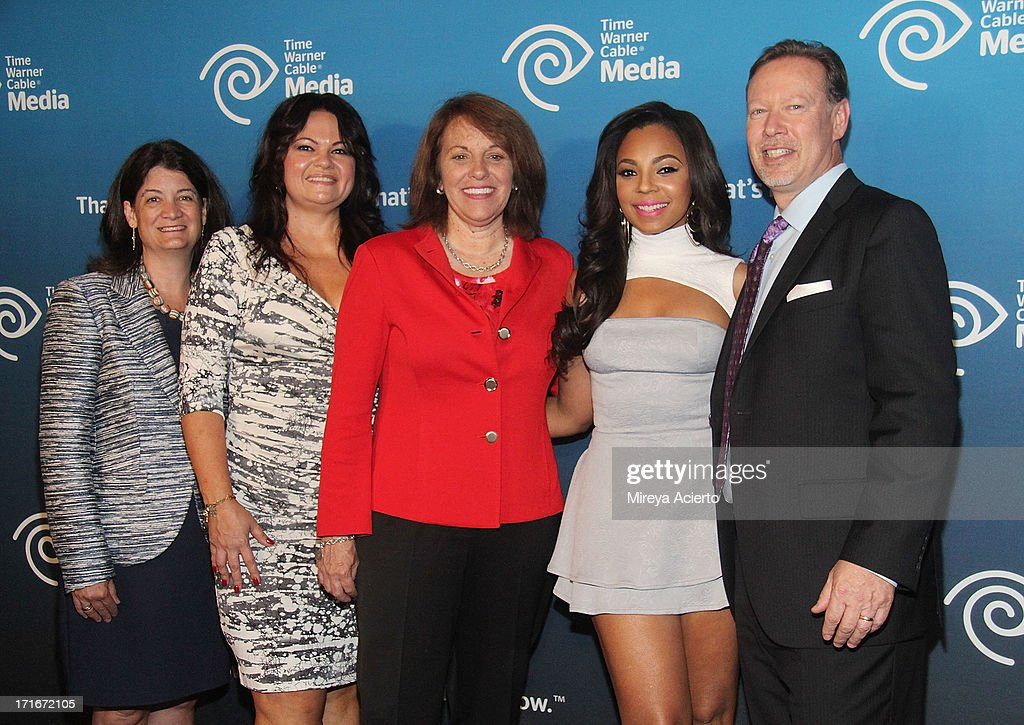 Joan Gillman, Betty deCicco, Carole Hart, <a gi-track='captionPersonalityLinkClicked' href=/galleries/search?phrase=Ashanti&family=editorial&specificpeople=146300 ng-click='$event.stopPropagation()'>Ashanti</a> and Steve Jacobs attends the Time Warner Cable 'View From The Top' Media Upfront at Frederick P. Rose Hall, Jazz at Lincoln Center on June 27, 2013 in New York City.