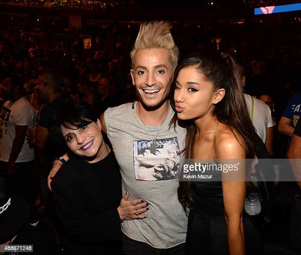 Joan Grande Frankie J Grande and Ariana Grande pose before Madonna performs onstage during her 'Rebel Heart' tour at Madison Square Garden on...
