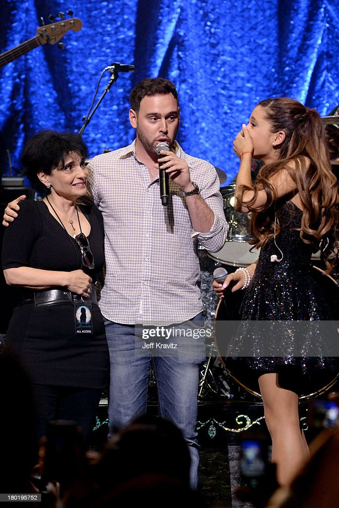 Joan Grande, <a gi-track='captionPersonalityLinkClicked' href=/galleries/search?phrase=Scooter+Braun&family=editorial&specificpeople=4394003 ng-click='$event.stopPropagation()'>Scooter Braun</a> and <a gi-track='captionPersonalityLinkClicked' href=/galleries/search?phrase=Ariana+Grande&family=editorial&specificpeople=5586219 ng-click='$event.stopPropagation()'>Ariana Grande</a> performs at Club Nokia on September 9, 2013 in Los Angeles, California.