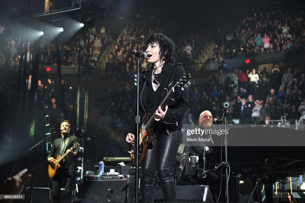 Joan Jett and Billy Joel perfom at the newly rennovated Nassau Coliseum, Long Island on April 5, 2017 in New York City.
