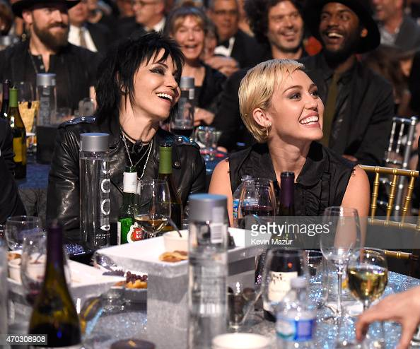 Joan Jett and Miley Cyrus attend the 30th Annual Rock And Roll Hall Of Fame Induction Ceremony at Public Hall on April 18 2015 in Cleveland Ohio