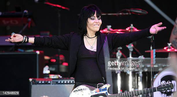 Joan Jett and the Blackhearts perform during the 36th Annual Toyota Pro/Celebrity Race at the Long Beach Grand Prix on April 14 2012 in Long Beach...