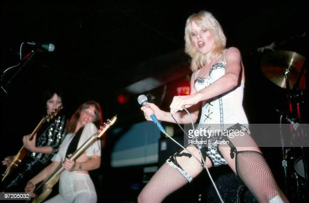 Joan Jett Jackie Fox and Cherie Currie from The Runaways perform live at CBGB's club in New York on August 02 1976
