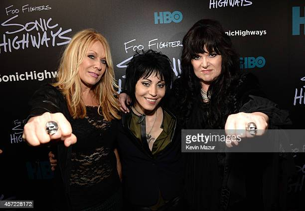 Joan Jett Nancy Wilson and Ann Wilson of Heart attend the premiere of Foo Fighters 'Sonic Highways' at the Ed Sullivan Theater on October 14 2014 in...