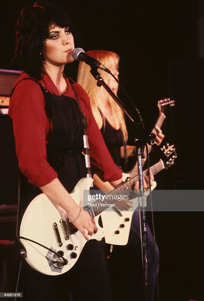 Joan Jett of The Runaways at performing at The Roxy in Los Angeles, California.