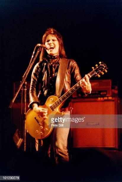 Joan Jett of The Runaways performs on stage at Hammersmith Odeon on November 13th 1977 in London England