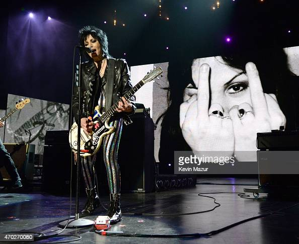 Joan Jett performs onstage during the 30th Annual Rock And Roll Hall Of Fame Induction Ceremony at Public Hall on April 18 2015 in Cleveland Ohio