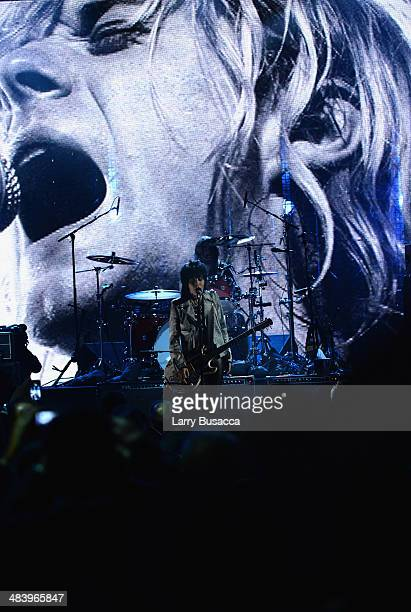 Joan Jett performs with Dave Grohl of Nirvana onstage at the 29th Annual Rock And Roll Hall Of Fame Induction Ceremony at Barclays Center of Brooklyn...