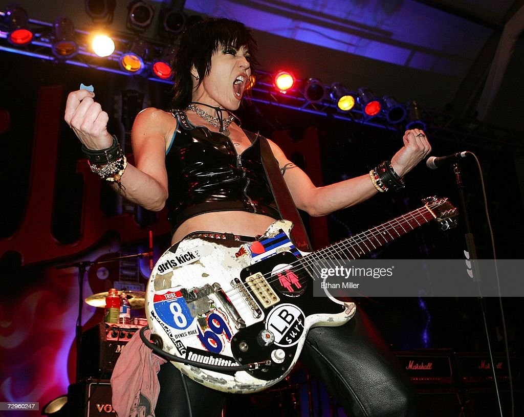 Joan Jett performs with her band Joan Jett and the Blackhearts at the Gibson booth at the Las Vegas Convention Center during the 2007 International Consumer Electronics Show January 9, 2007 in Las Vegas, Nevada. The world's largest consumer technology trade show runs through January 11 and features 2,700 exhibitors showing off their latest products and services to more than 150,000 attendees.