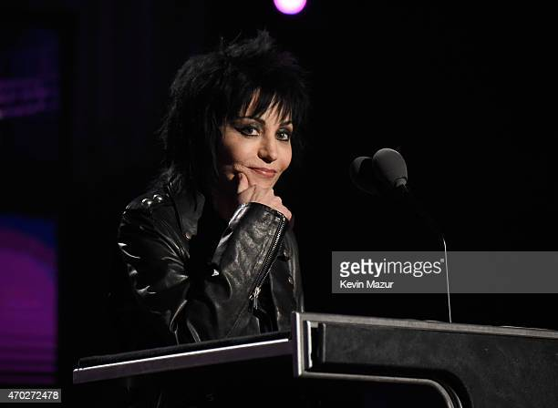 Joan Jett speaks onstage during the 30th Annual Rock And Roll Hall Of Fame Induction Ceremony at Public Hall on April 18 2015 in Cleveland Ohio