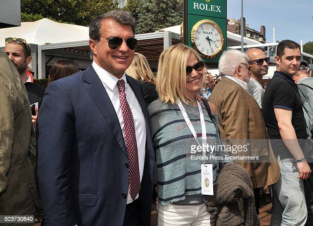 Joan Laporta and Eugenia Martinez de Irujo are seen attending Tennis Barcelona Open Banc Sabadell on April 20 2016 in Barcelona Spain