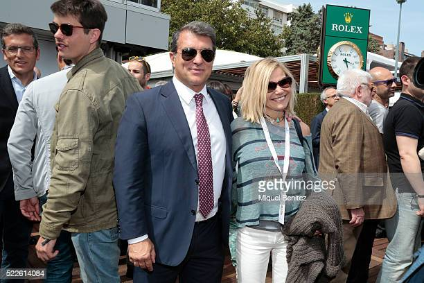 Joan Laporta and Eugenia Martinez de Irujo attend the Barcelona Open Banc Sabadell 64th Conde de Godo Trophy at Real Club de Tenis Barcelona on April...