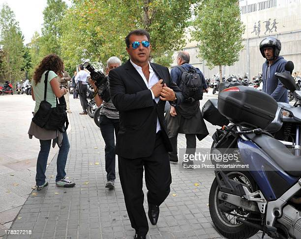 Joan Laporta attends Alvaro Bulto chapel of rest at Sant Gervari morgue on August 29 2013 in Barcelona Spain