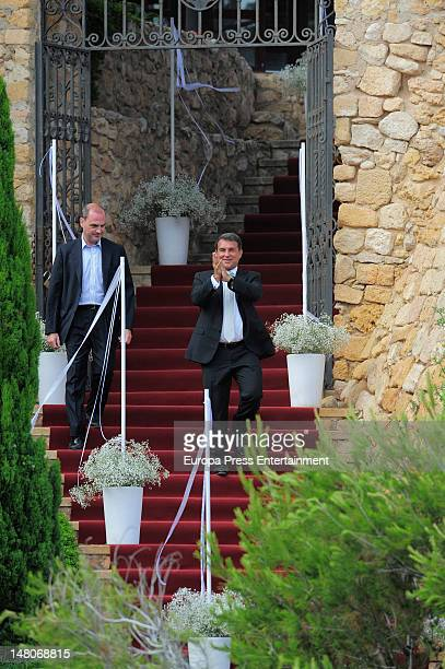 Joan Laporta attends the wedding of Spanish football player Andres Iniesta and Ana Ortiz at Tamarit Castle on July 8 2012 in Tarragona Spain
